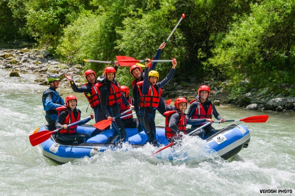 Group rafting on the verdon