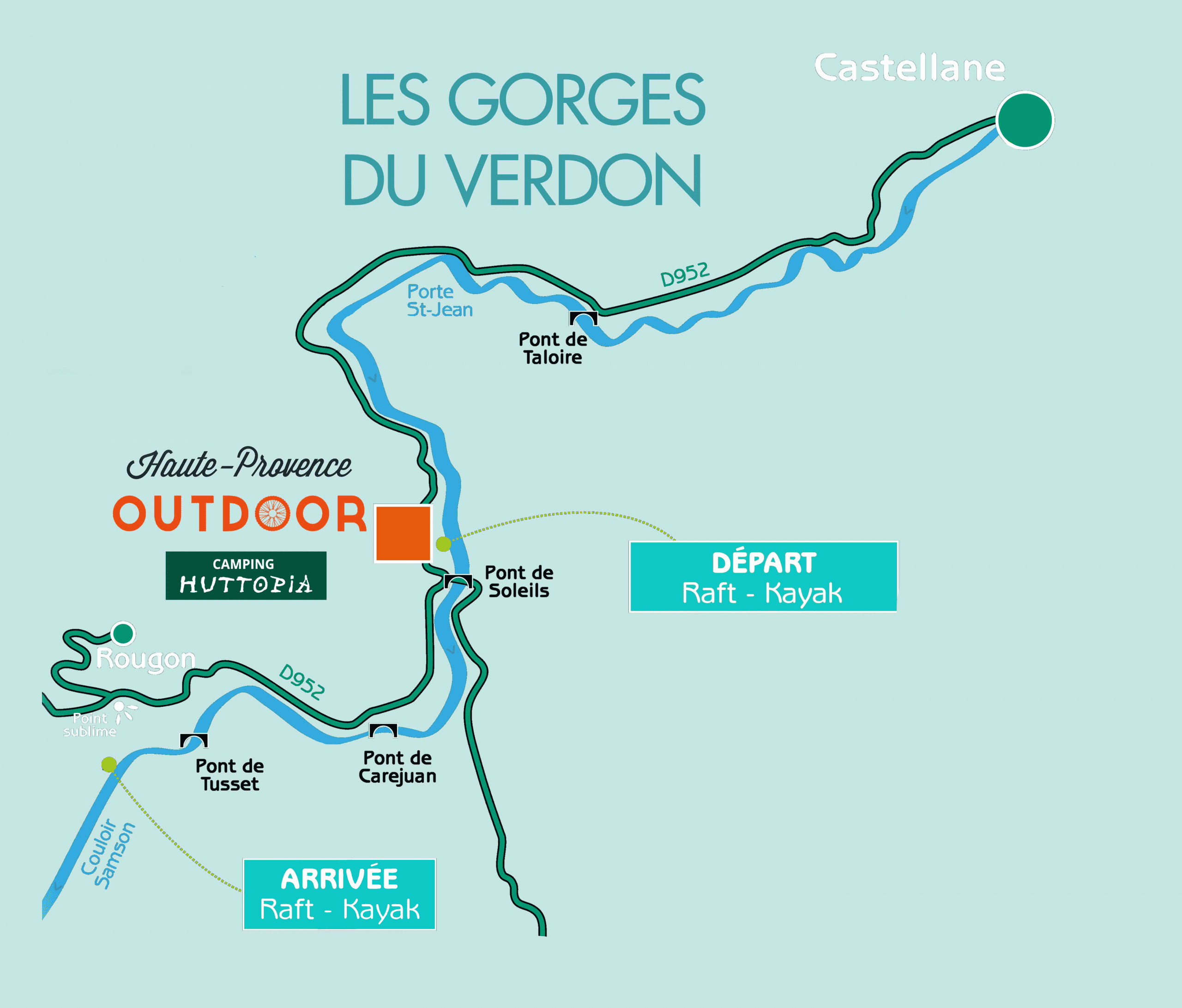 Map of the Sublime Point course in rafting or canoeing