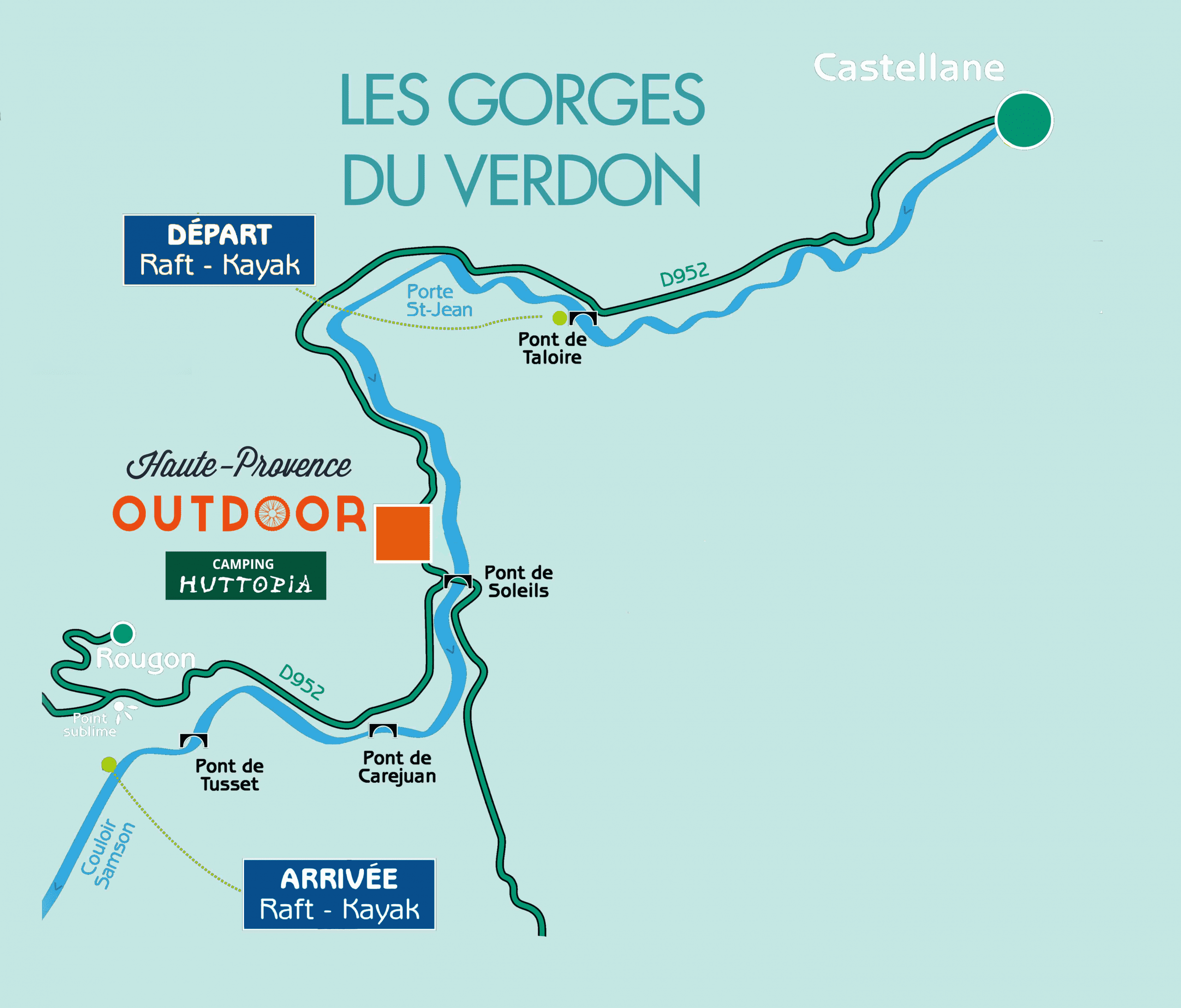 rafting or canoeing map of the taloire bridge